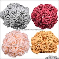 Decorative Wreaths Festive Home & Garden24 48Pcs 7Cm Artificial Flower Bouquet Pe Foam Rose Fake Flowers For Wedding Birthday Party Decor Su