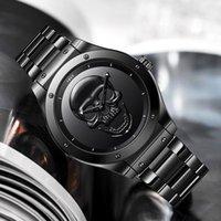 Armbanduhren 2021 lige klassischer schwarzer schädel herrenuhren top business uhr männer wasserdichte quarz clock mann sport chronograph
