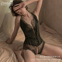 Vertical Fun Sexy Lingerie Sexy Transparent Lace Jumpsuit Womens Strap Nightdress European and American Hot Uniform Seductive Set