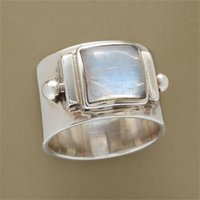 Cluster Rings Vintage Square Moonstone Wedding Boho Women's Anniversary Gift Fashion Girl Accessories Jewelry
