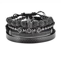 Charm Bracelets Luxury Gold Braided Adjustable Bracelet Men Male Beads Crown Black Cz Zircon Stainless Steel Jewelry