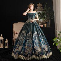 2021 Marie Antoinette Princess Party платье платье костюмы средневековые шеи с коротким рукавом платья на заказ