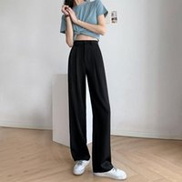 Women's Pants & Capris Fashion Summer 2021 High Waist Loose Ladies White Suit Office Casual Wide-leg Black Gray Thin Straight