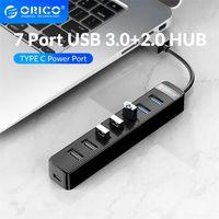 USB 3 0 + 2.0 HUB مع نوع C عالية السرعة 7 منافذ USB3.0 2.0 SD TF الخائن محول للكمبيوتر الملحقات الكمبيوتر 210615