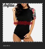 Bikinis Set Anfilia Women Short Sleeve Quick-drying Shirt Retro Print Rashguard Top Running Shirts Rash Guard UPF50+ Hiking Shirts1