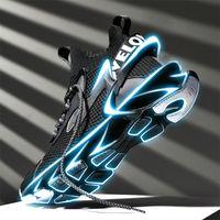 Blade-Keskin Ayakkabı Erkek Yaz Nefes Spor Siyah Örgü Uçan Dokuma 2021 Yeni Şok Emici Koşu Ayakkabıları Çok Yönlü Moda Ayakkabı