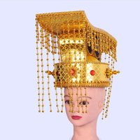 Gold Adults Emperor hat Chinese ancient Costume Accessories The Qin Empire Crown Vintage TV Film performance cosplay headwear