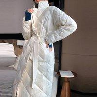 Longue manteau d'hiver Rhombus Structure Casual Sashes Femmes Parkas Poches Poches sur mesure Collier Veste Veste en coton Rembourré