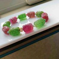 Bracelets Genuine Natural Colorful Tourmaline Bracelet Red Green 18 12mm Clear Barrel Carved Beads Women Men Fashion Stone Aaaaaa