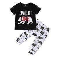 Jungen Casual Kleidung Sets Buchstaben Wild One Plaid Hose Baby Mode Anzüge Kind Outfits Kinder Tops Hosen 1-5T LG2017
