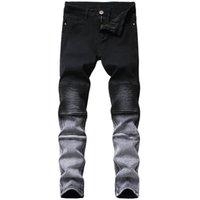 الرجال الجينز الرجال تمتد ضئيلة أسود أقدام صغيرة الاتجاه العلامة التجارية عالية الجودة بنطلون دراجة نارية مطوي