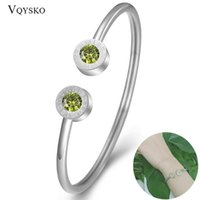 Fashion Crystal 1-12 Birthstone For Women Silver Color Stainless Steel Roman Birthday Gift Bracelets Bangles Jewelry Bangle