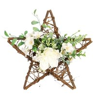 Artificial Star Shape Camellia Wreath Pentagram For Hanging Front Door Wall Window Wedding Farmhouse Home Decor Decorative Flowers & Wreaths