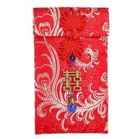 Regalo envolver 2021 dinero bolsillo tradicional boda cumpleaños bolsa de año chino afortunado hong bao tassel festival de primavera sobres rojos