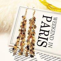 Dangle & Chandelier 1 Pair Star Tassel Long Drop Earrings For Women Gold Silver Color Ladies Sequin Brincos Oorbelle Fashion Jewelry