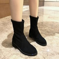 Boots Women Solid Black Lace Up Mid Calf PU Leather Ladies Square Heels With Diamond Fashion Style Female Outdoor Shoes