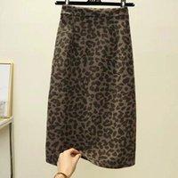 Skirts Women Leopard Skirt Slim Wrap Midi Wool Warm For Winter Ladies Autumn Sexy Pencil Split Plus Size Work