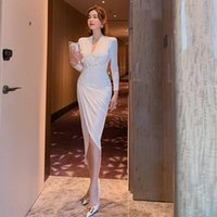 Casual Dresses Women's V-neck Slim Fit Long Sleeve Dress Office Lady Sheath Zippers Knee-Length CN(Origin) Polyester