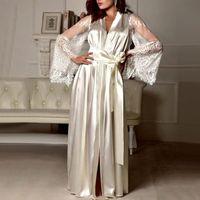 Dormire da donna Nightdress Sexy Long Lackelinghie Bath Robe Gown Imitazione Ghiaccio Seta Full Solid Color Nightdown Nightwear