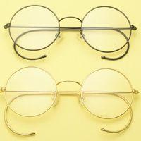 خمر العتيقة جولة الأسلاك حافة النظارات إطارات الأذن السنانير الرجعية الملك الإمبراطور جون لينون نظارات 42 ~ 50 ملليمتر النظارات الشمسية