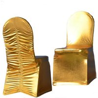 Chaise Couvre Wedfavor 50pcs Gold Métallique Argent à éboutir Spandex Lycra Bronzing Stretch élastique Ruché