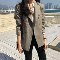 Classic Women's Blazer 2021 Autumn Slim Full-sleeve Plaid Jacket Female Vintage Hipster Office Suit High Quality 2 Colours Suits & Blazers