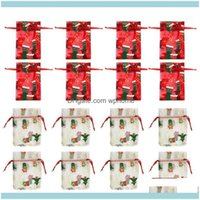 Articoli regalo Evento festivo Forniture per feste Home Gardengift Wrap 50pcs Borse DString Banco Organza Tasche Bundle Candy Sacchetto Garza per Natale Cioccolato
