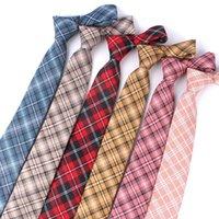 남자를위한 붉은 격자 무늬 넥타이 웨딩 비즈니스 캐주얼 체크 넥타이에 대한 스키니 남성 넥타이 클래식 정장 슬림 넥 넥타이 Gravatas