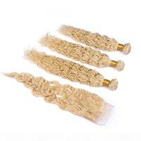 # 613 блондинки индийские девственные мокрые и волнистые человеческие пакеты волос с закрытием Волна Волна белокурые волосы Weafe Weaves с кружевной крышкой 4x4