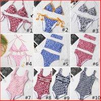Mujeres Bikini Sexy Beach Bikinis Verano Split Traje de baño Moda Carta Impreso Tiras Siamés Estilo dividido Traje de baño Una pieza 2021