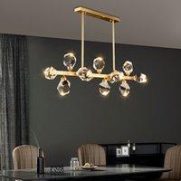 Роскошная люстра Внутреннее освещение для гостиной прямоугольник Матовый золотой подвесной светильник хрустальные люстры LED Cristal Luster