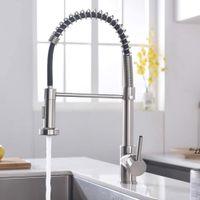 Gebürstelter Nickel-Finish-Küchen-Waschbecken Wasserhahn Pull-Sprühgerät Deck-Halterung-Feder-Mischbatterie-Tap-Swivel-Auslauf Wasser Seaway HWF10237