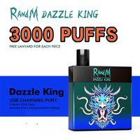 Randm Dazzle king Disposable vape pen E cigarette 3000puffs rechargeable 8ml Pod RGB Light Bar Vape Kit