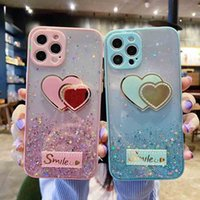 Girls Glitter Diamond Heart Mirror Phone Cases For iPhone 12 Pro Max Luxury Bling Crystal Rhinestone Design Silicone Rubber PC Protective