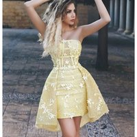 Strapless 3D Flowers Arabic Cocktail Prom Dresses Light Yellow Overskirts short Homecoming Gowns Short Mini Dress Party Wear
