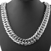 Heavy 21MM Wide Cool Double Cuban Curb Link Chain Stainless Steel Silver Color Necklace Or Bracelet Mens Womens Jewelry 7-40inch Chains