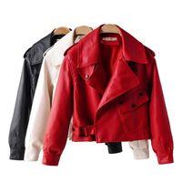 Women's Leather & Faux Fashion Women Elegant Big Pocket Biker Jacket In Red Black Slim Ladies Coat Casual Brand Motorcycle