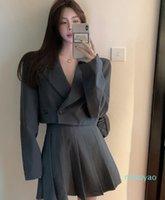 의류 세트 영국 스타일 한국어 학교 유니폼 가을 겨울 검정 / 회색 Ovrsize 긴팔 정장 재킷 + Pleated Skirt 2pcs se