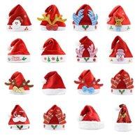 Kerstversiering New Santa Hats 2021 Pluche Rood en Wit Santa Hoeden Extra Dikke Bal Party Hoeden voor kinderen