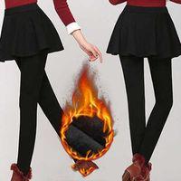 Yoga Outfit Winter Pants Skirts For Women Warm Tights Autumn Tight Plus Velvet Thicken Skirt Stretch Slim Leggings Leggins