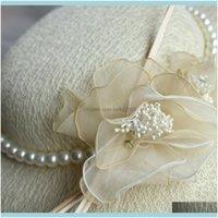 Asoresen Hochzeit, Partyereignisse Vintage Beige Brauthüte mit Perlen K8VCM
