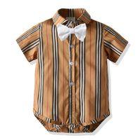 デザイナーベイビーボウタイラ格子ロンパース男の子格子縞ジャンプスーツ幼児キッズラペル半袖コットン紳士服新生服A6405