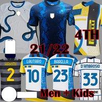 20 21 22 Lukaku Lautaro Dördüncü 4th Futbol Jersey De Vrij Vidal Barella Milan Eriksen Futbol Gömlek Inter 2021 2022 Uzun Kollu Hakimi Gagliardini Erkekler Kids Kiti Setleri