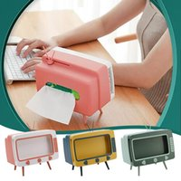 Tv Tissue Box Mobile Phone Stand Desktop Napkin Container Holder Rack Case Organizer Home Car Decor Toys Boxes & Napkins
