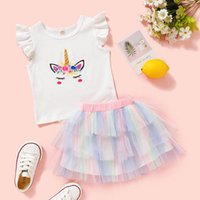 Kids Clothing Sets Girls Outfits Baby Clothes Children Lace Tutu Skirt Unicorn Print Top Two-Piece Suit Cotton Short Sleeve T-shirts B6663
