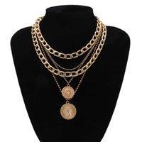 Роскошные дизайнерские ожерелья Ingesight Z Punk Multi слой бордюр кубинской коренастый толстый портрет колье ожерелье женщины винтажные резные монеты подвеска