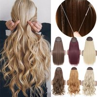Synthetic Wigs No Clip Straight Halo Hair Natural Black Blonde One Piece False Hairpiece Fish Line Fake