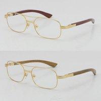 Оптовая продажа 18k золотые древесные очки рамы металлические квадратные площадью 5046683 Деревянные очки C Украшения мужские и женские смешанные очки градиентные линзы