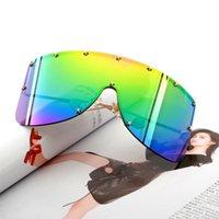 Outdoor Eyewear Retro Oversized Big Frame One Piece Trendy Sunglasses Fashion European And American Windproof Metal Mask Frameless