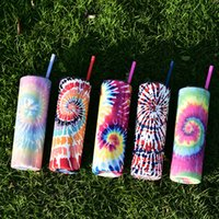2021 Sublimation Creative Skinny Tumblers Cup Mugs Tie-Dye Rainbow Color Stainless Steel Vacuum Insulated Tapered Slim DIY 22 OZ Car Coffee 5 Colors